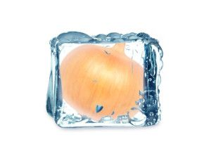 onion and cube of ice isolated on white background